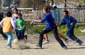 Fútbol callejero en El Bolsón.